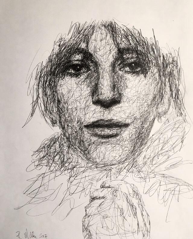"""Patti Smith, 2017   #2 Pencil on paper 11""""x 14"""""""