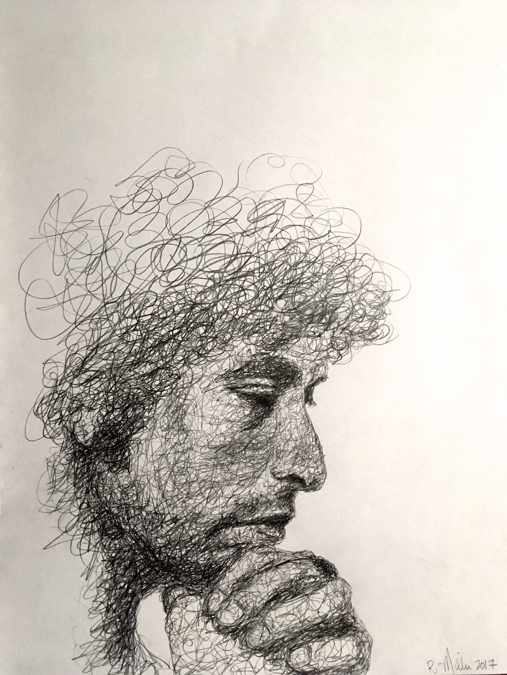 "Bob Dylan, 2017    #2 Pencil on paper 11""x 14"""