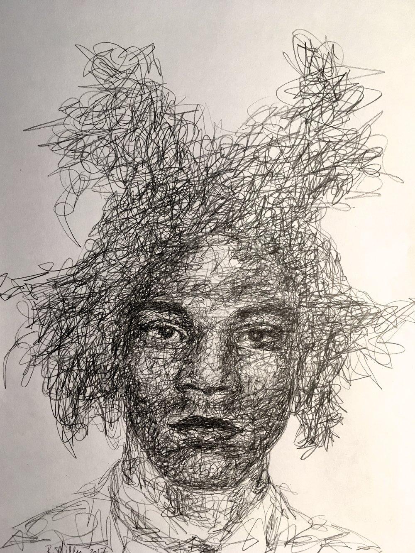 "Jen-Michel Basquiat, 2017 #2 Pencil on paper 11""x 14"""