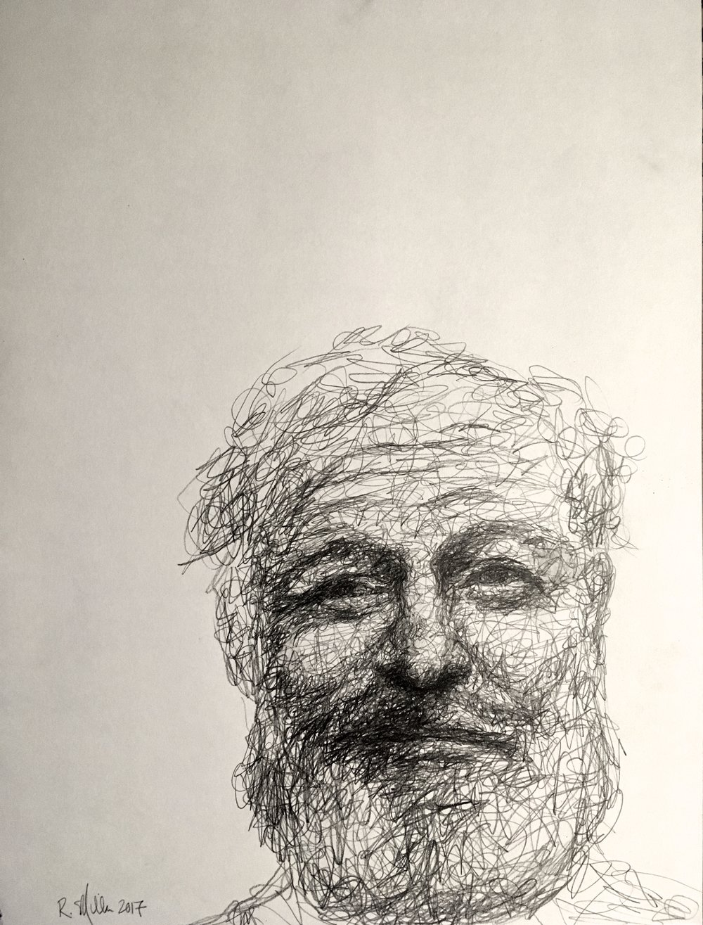 "Ernest Hemingway, 2017    #2 Pencil on paper 11""x 14"""