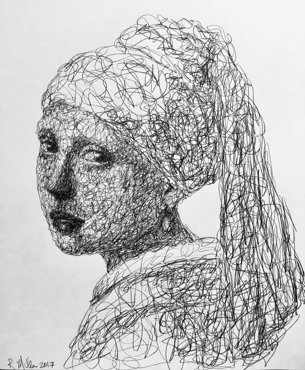 "Girl with The Pearl Earring, 2017    #2 Pencil on paper 11""x 14"""