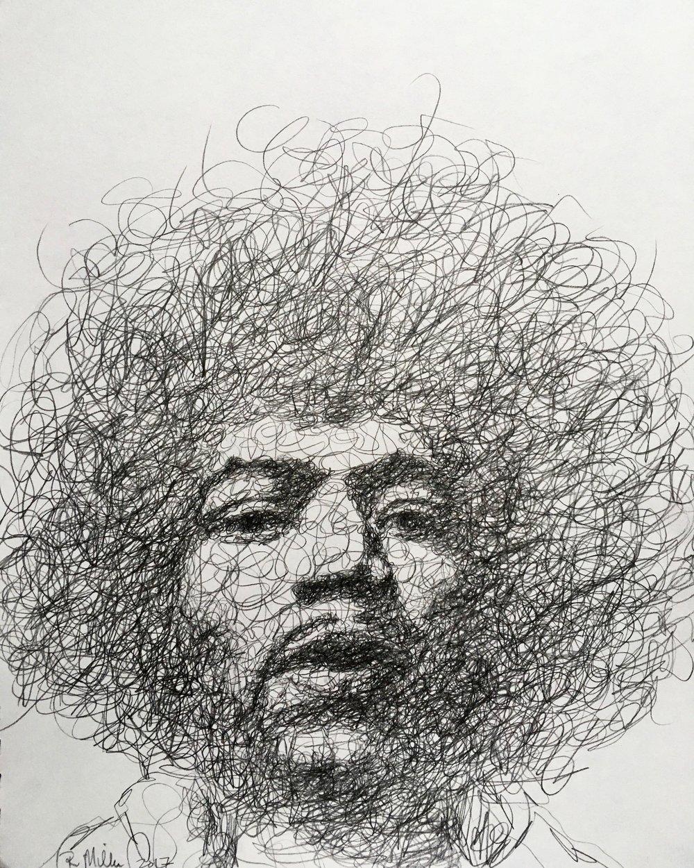 """Jimi Hendrix, 2017   #2 Pencil on paper 11""""x 14"""""""
