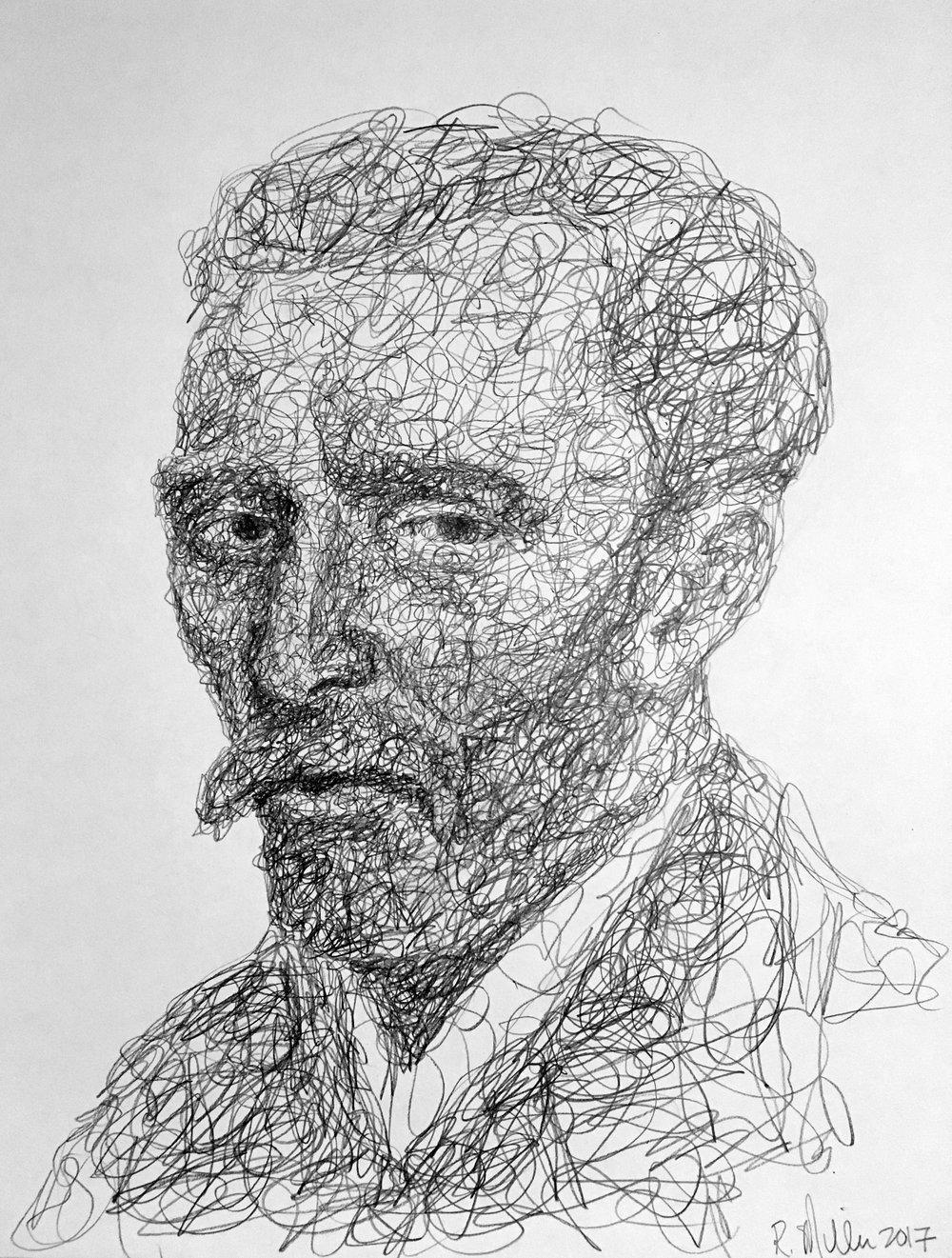 """Vincent van Gogh, 2017   #2 Pencil on paper 11""""x 14"""""""