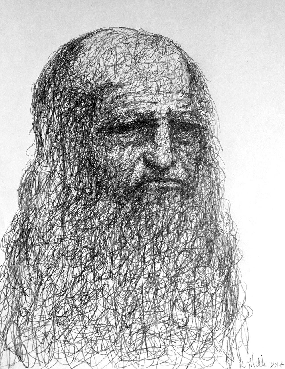 "Leonardo da Vinci, 2017   #2 Pencil on paper 11""x 14"""