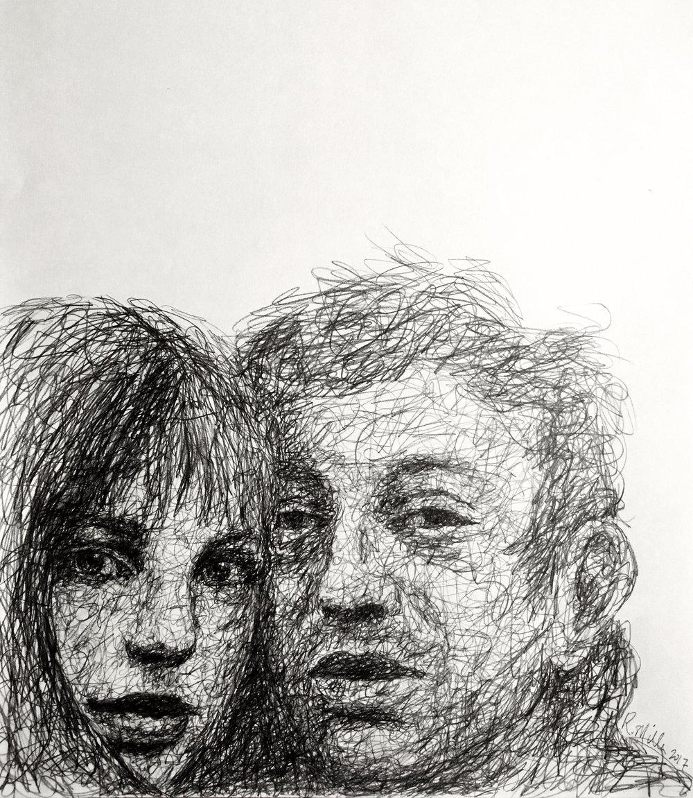 "Serge & Jane, 2017   #2 Pencil on paper 11""x 14"""