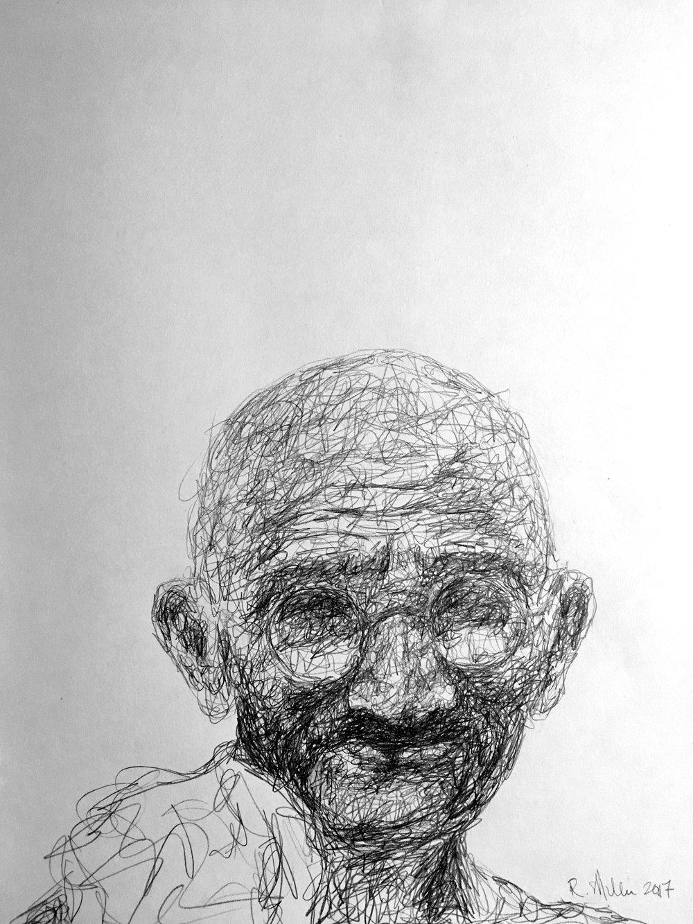 """Mahatma Gandhi, 2017  #2 Pencil on paper 11""""x 14"""""""