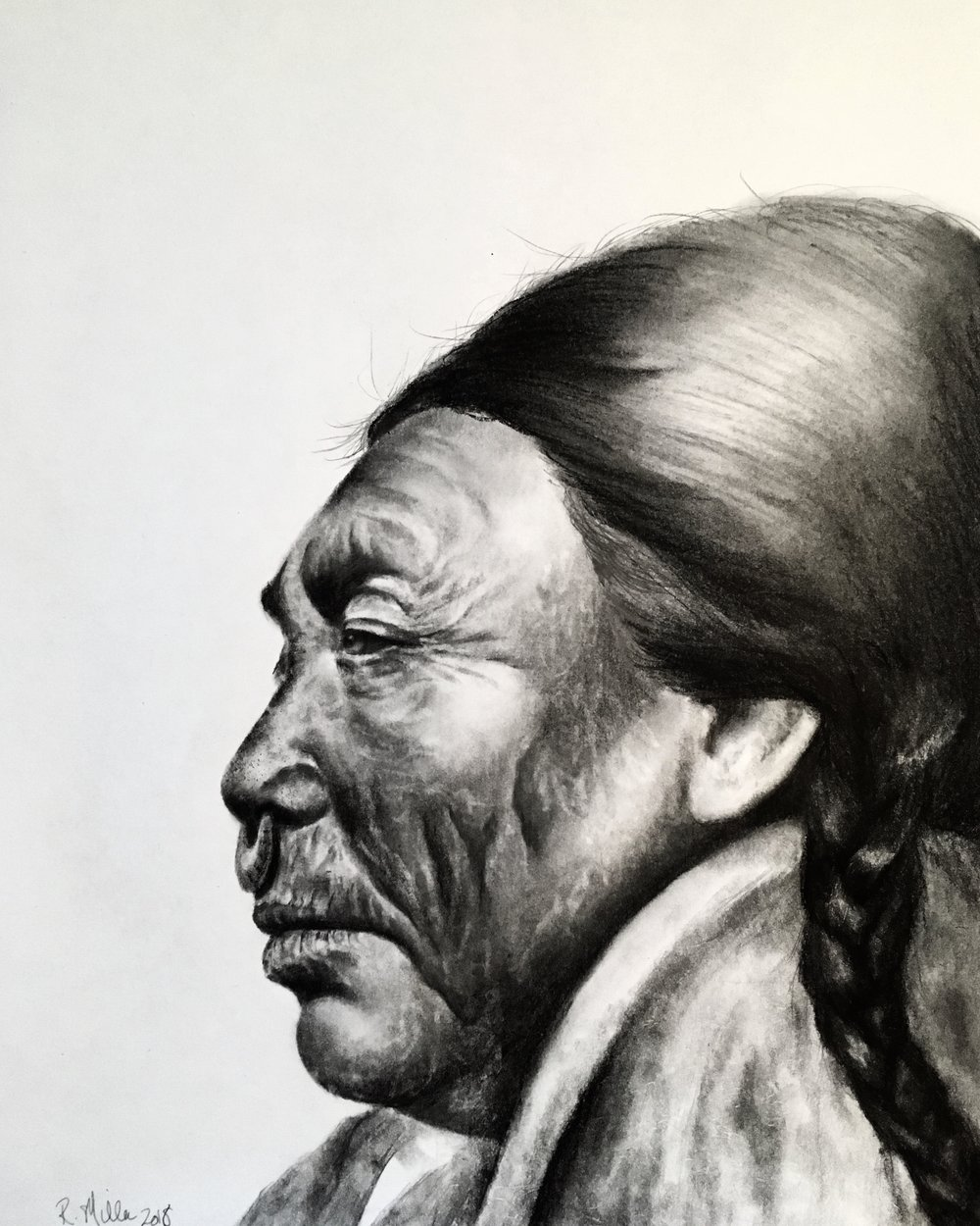 "Native American Elder, 2018  ""We must protect the forests for our children, grandchildren and children yet to be born. We must protect the forests for those who can't speak for themselves such as the birds, animals, fish and trees."" – Qwatsinas   #2 pencil & charcoal on paper"