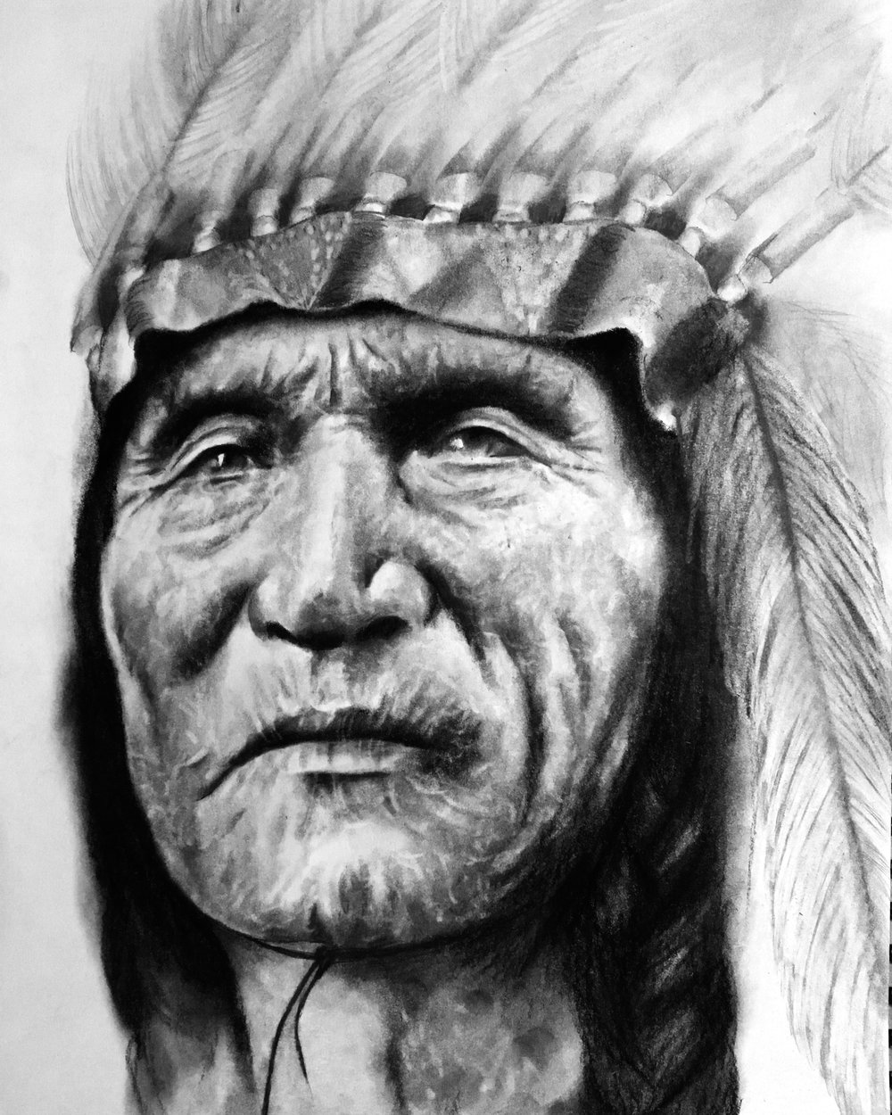 "Native American Chief, 2018  ""When the Earth is sick, the animals will begin to disappear, when that happens, The Warriors of the Rainbow will come to save them. "" – Chief Seattle  #2 pencil & charcoal on paper"