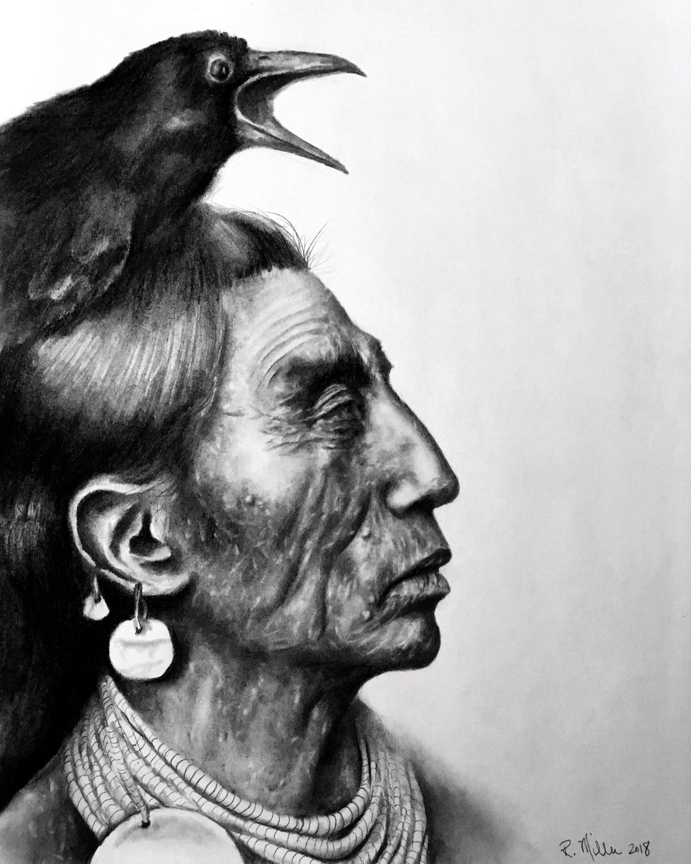 "Crow, 2018   ""Everything on the earth has a purpose, every disease an herb to cure it, and every person a mission. This is the Indian theory of existence."" -Mourning Dove   #2 pencil & charcoal on paper"