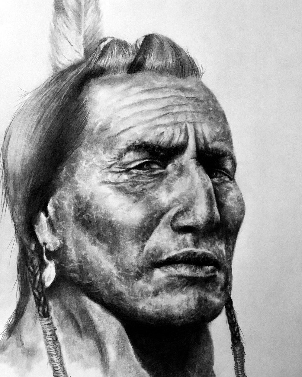 "Chief, 2018  ""The land is sacred. These words are at the core of your being. The land is our mother, the rivers our blood. Take our land away and we die. That is, the Indian in us dies."" – Mary Brave Bird  #2 pencil & charcoal on paper"