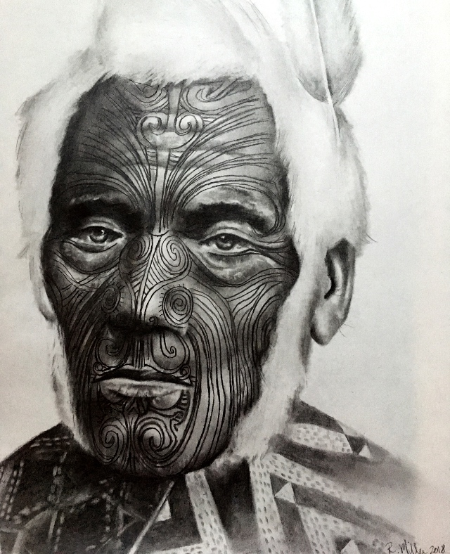 "Maori Chief Anehana, 2018 ~Ki te kahore he whakakitenga ka ngaro te iwi -Without foresight or vision the people will be lost  #2 pencil on paper, 11""x14"""