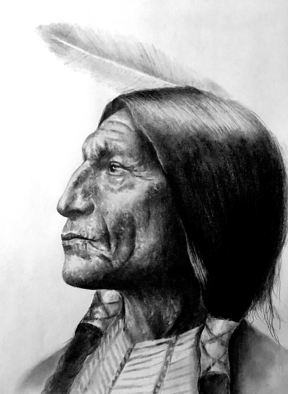 "Cheyenne Chief Wolf Robe, 2018 ""Our first teacher is our own heart.""   #2 pencil on paper, 11""x14"" finished/unfinished"