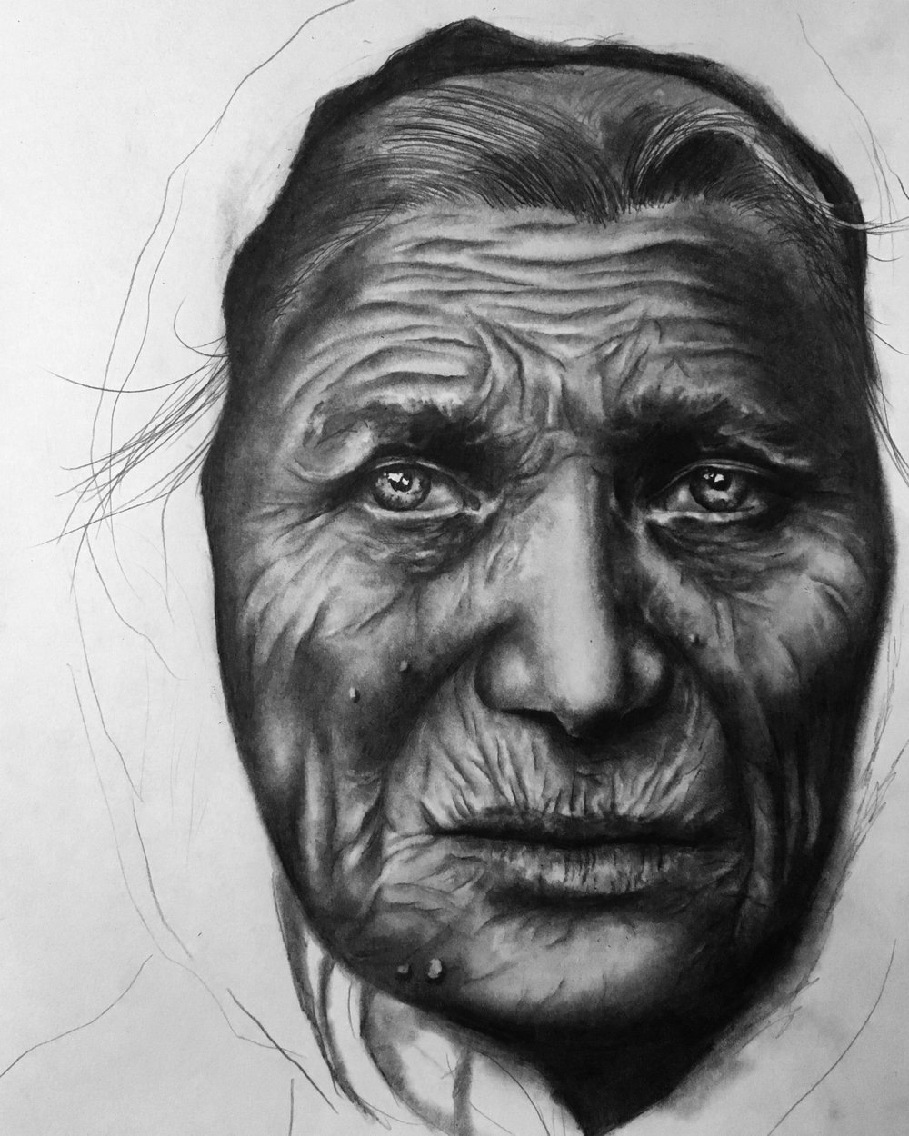 "Old Woman, 2018   #2 pencil on paper, 11""x14"" finished/unfinished"