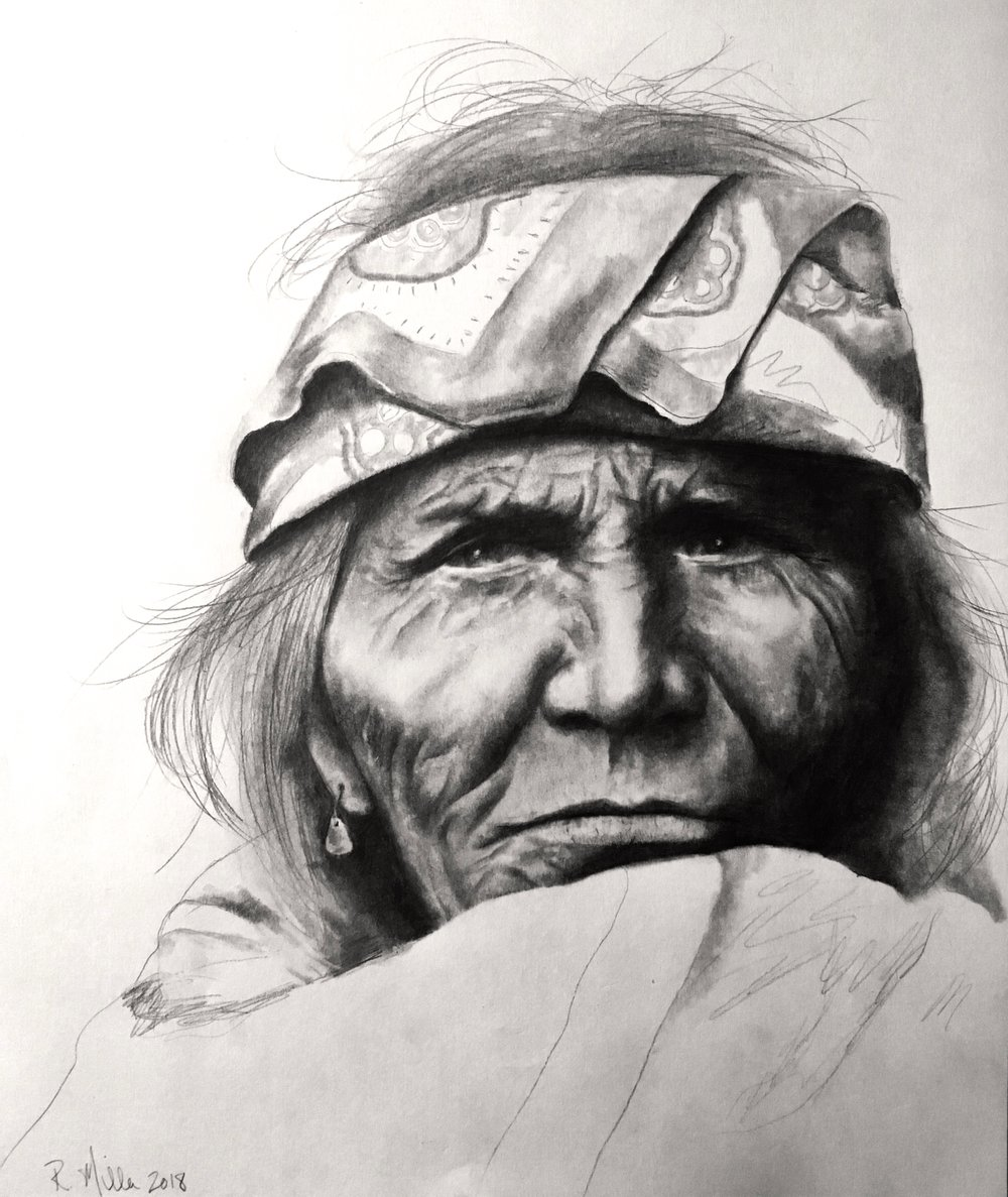 "Apache, 2018   #2 pencil on paper, 11""x14"" finished/unfinished"
