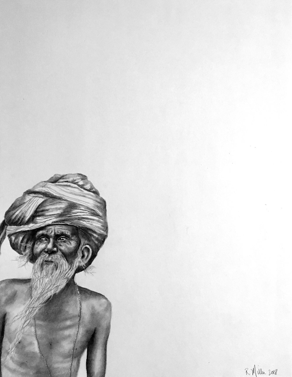 "Sadhu, 2018   #2 pencil on paper, 11""x14"""