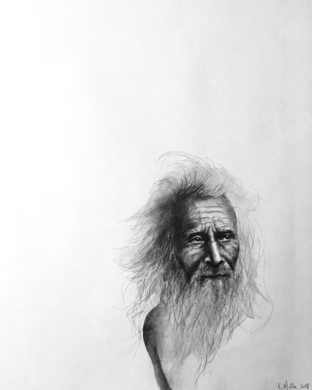 "Sadhu, 2018   #2 pencil on paper, 11""x14"" finished/unfinished"