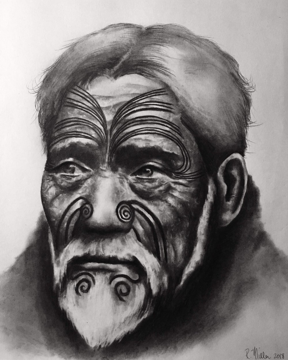 "Maori Chief , 2018  #2 pencil on paper, 11""x14"""