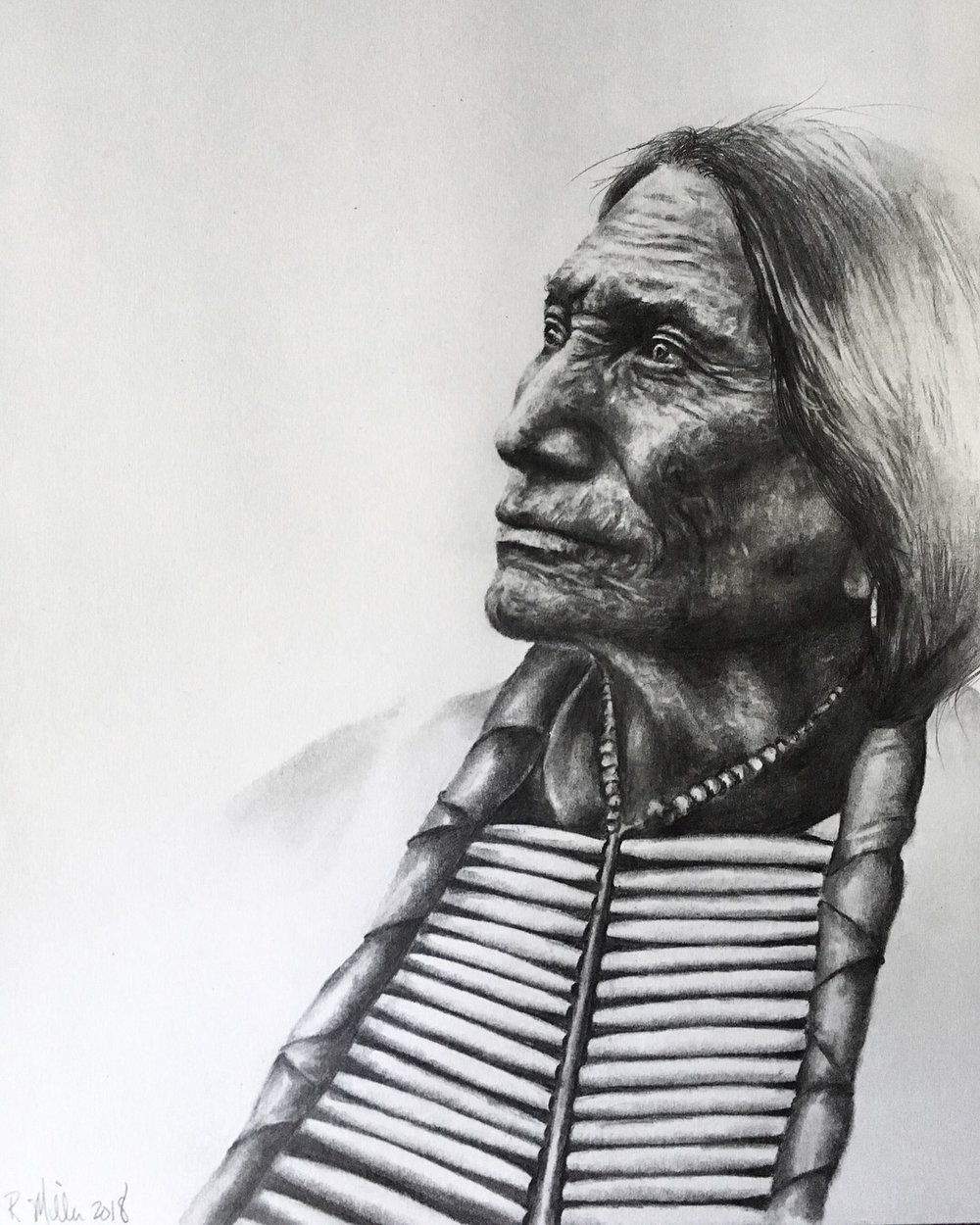 "Lakota Sioux, 2018  #2 pencil on paper 11""x 14"""