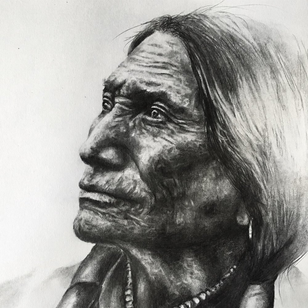 "Lakota Sioux, 2018 detail  #2 pencil on paper 11""x 14"""