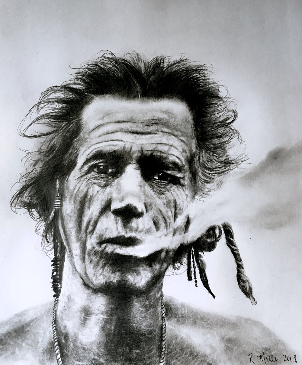 "Keef, 2018   #2 pencil on paper, 11""x14"""
