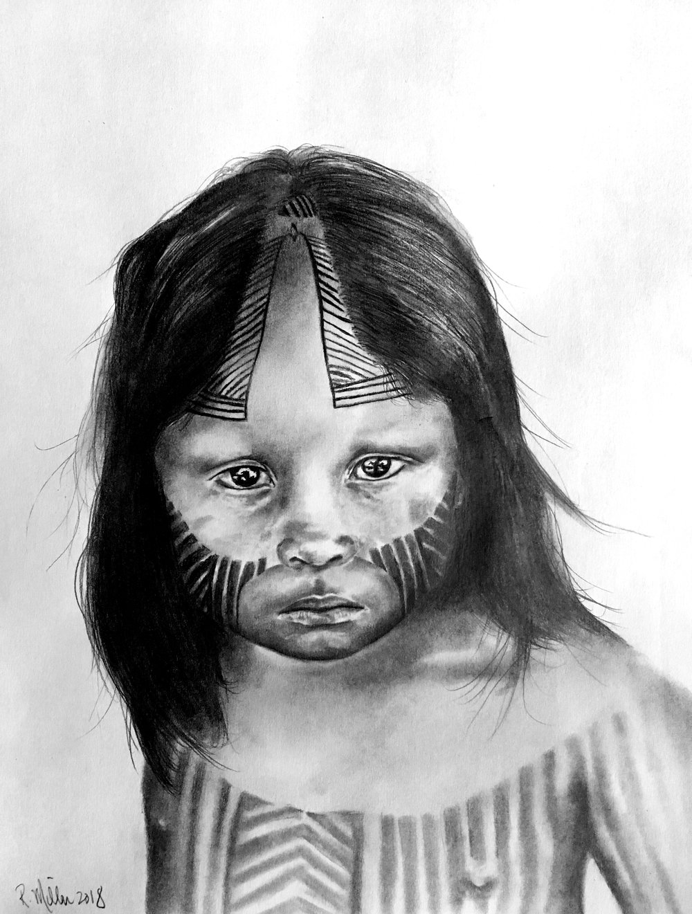"Kayapo Girl, 2018   #2 pencil on paper, 11""x14"""