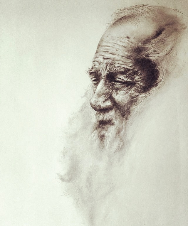"Old Man, 2018   #2 pencil on paper, 11""x14"""