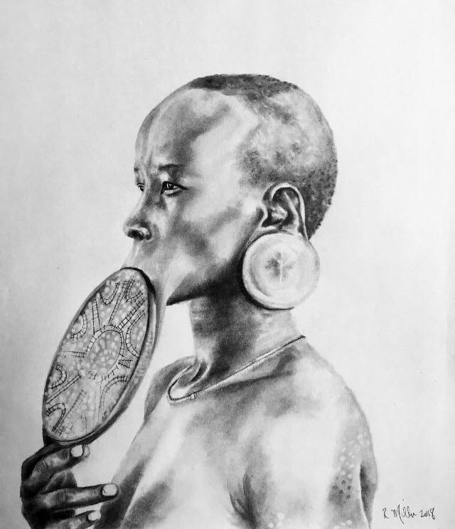 "Mursi Woman, 2018  #2 pencil on paper 11""x 14"""