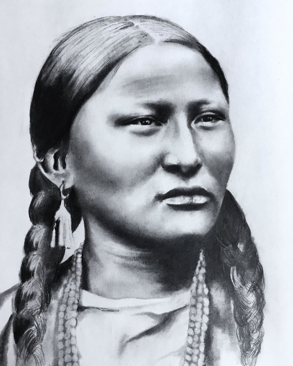"""Pretty Nose"" Arapaho still in progress  #2 pencil on paper"