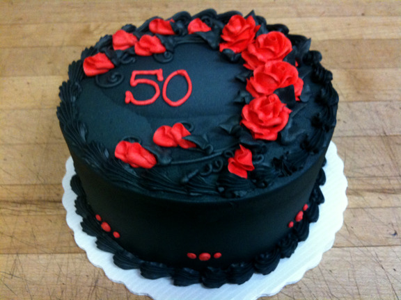 Black iced with Red Roses 50th