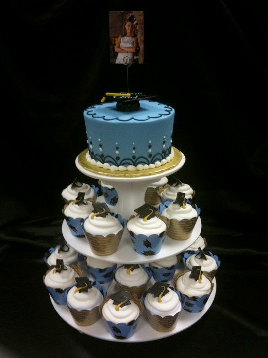 "Tiered Cupcakes with 7"" Cake"