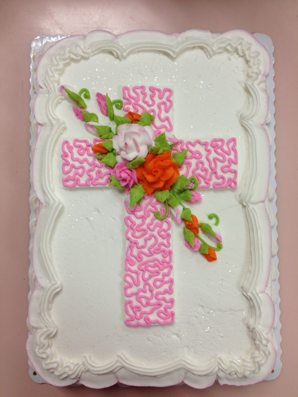 Cornelli Lace Cross with Spray of Roses