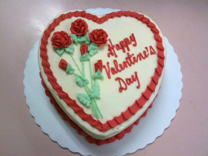 Heart Shaped Cake with Long Stemmed Roses