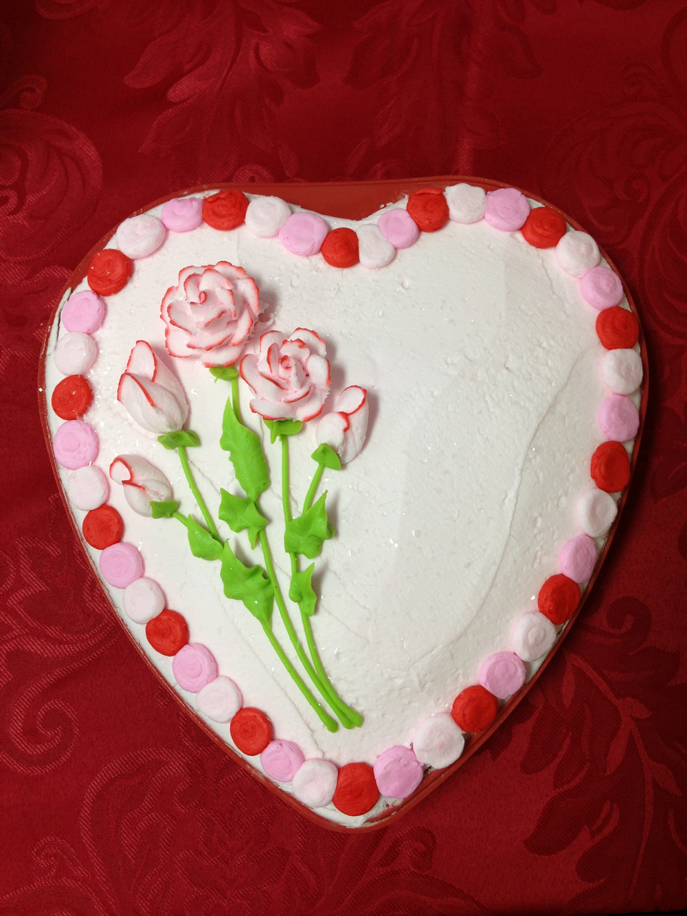 Tipped Roses Heart Shaped Cake