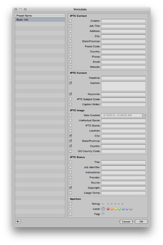 Aperture's Metadata Window. Hopefully Apple allows Photos to have full metadata editing.