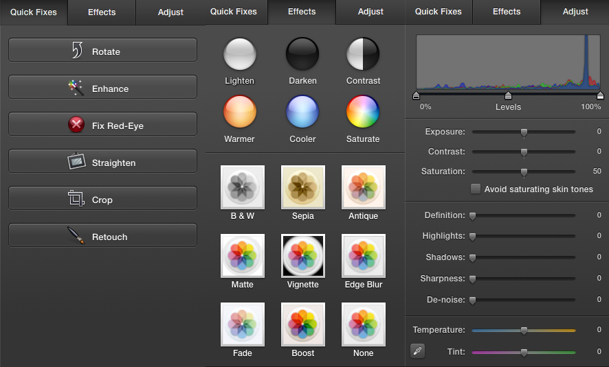 iPhoto's Editing Options