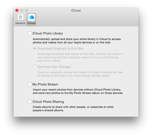 iCloud Photo Library Options
