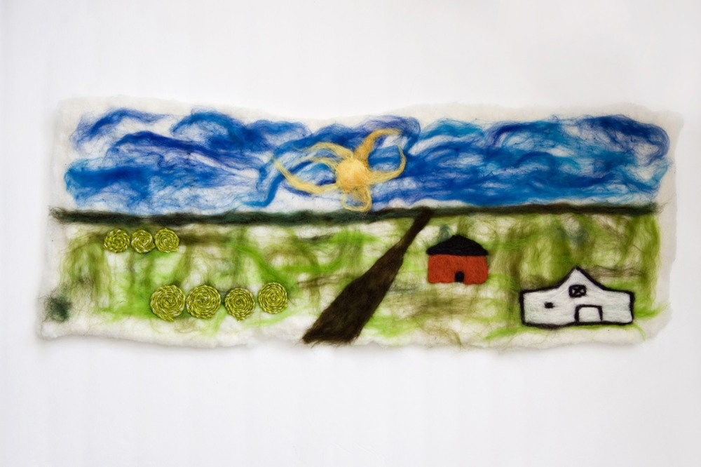 """Rest"" 12 by 32 inches, Felted wool with cotton and linen."