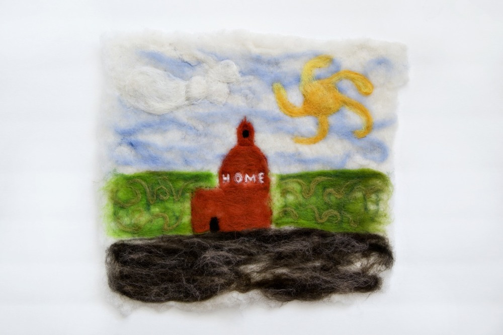 """Beauty"" 14 by 16 inches. Felted wool."