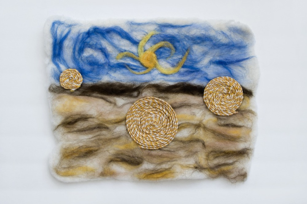 """Abundance"" 13 by 17 inches. Felted wool, cotton and linen."