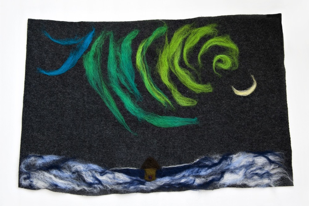 """Stillness"" 18 by 28 inches. Felted wool."