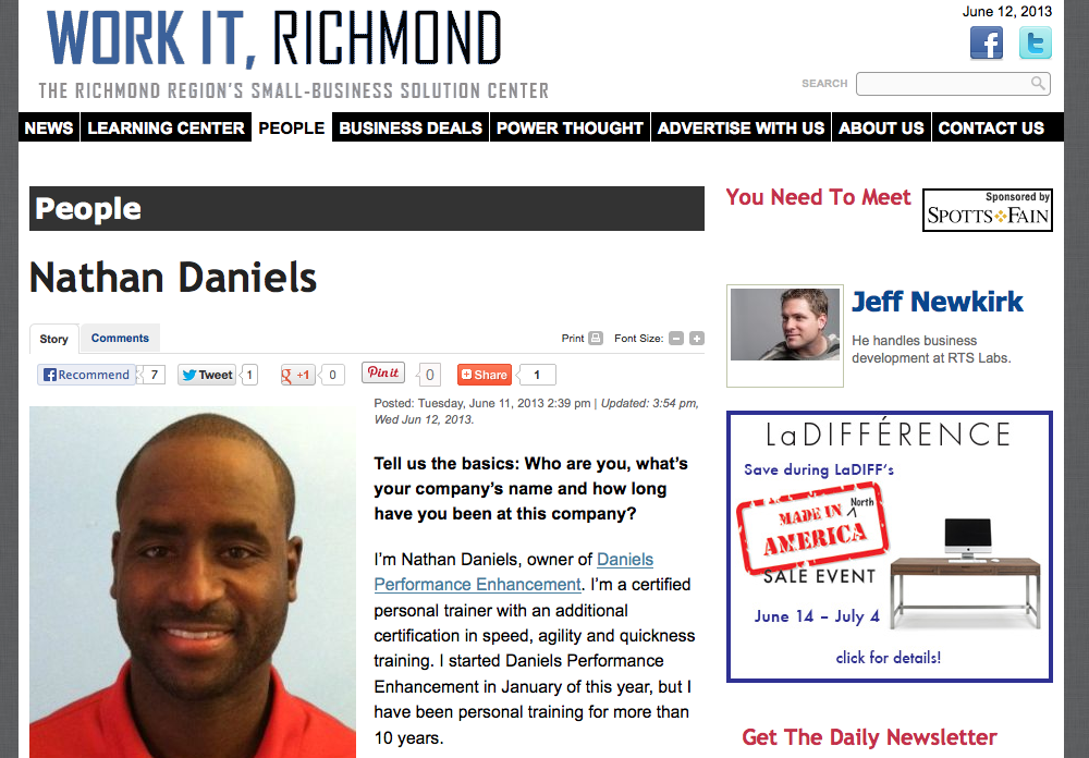 Daniels Performance Enhancement Owner Nathan Daniels was featured in Work It, Richmond.