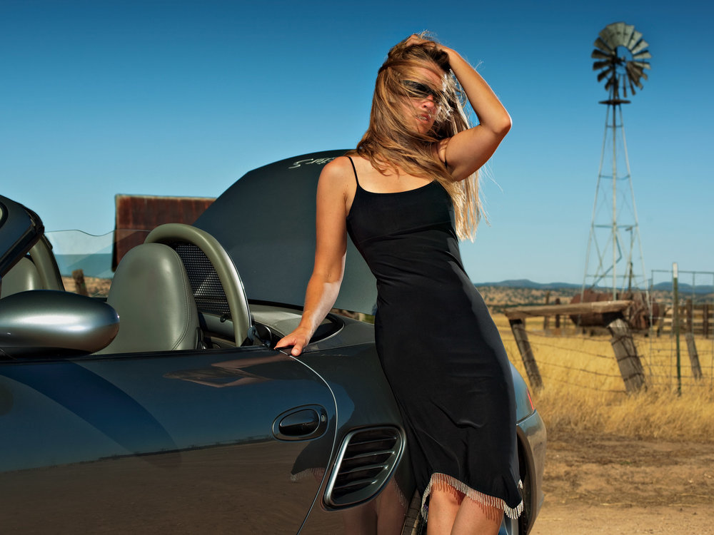 Melissa w Windmill and Porsche.jpg