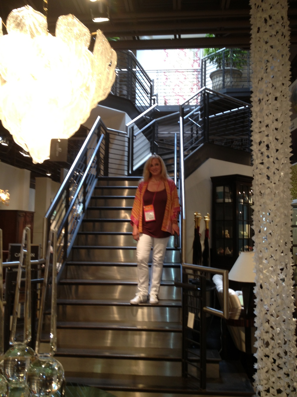 A beautiful stairway at a Dallas showroom.  The stair treads are leather.