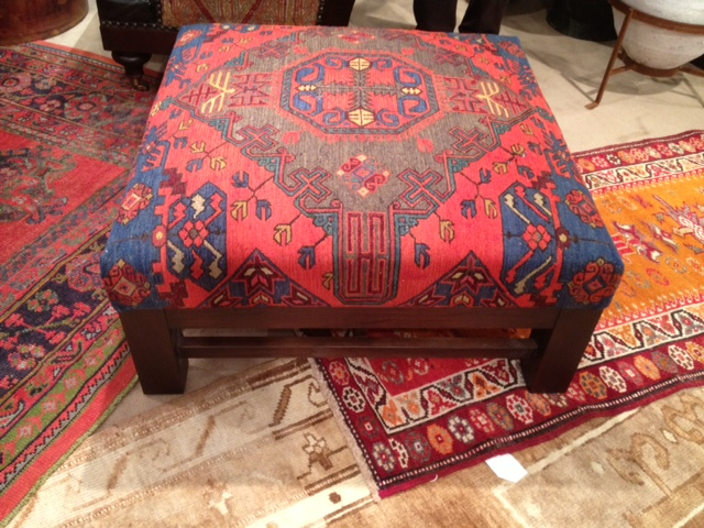 An old Turkoman carpet made into a stunning ottoman. I believe this one is of Russian origin, Caucasian tribe.