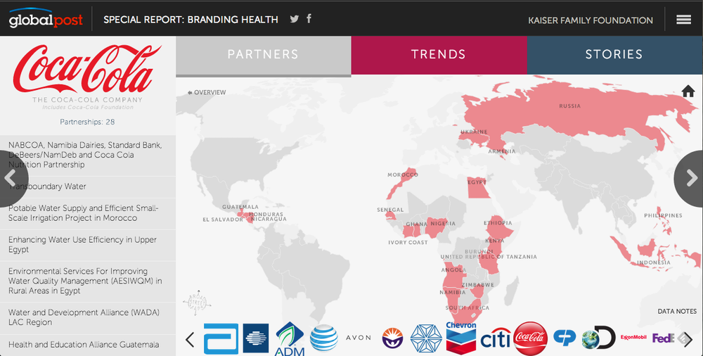 The partners tab visualizes which US Fortune 500 companies have global health partnerships with USAID.