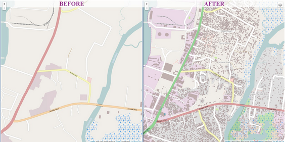 Monrovia, Liberia before and after volunteers mobilized to map the capital in response to the Ebola outbreak. According to the Missing Maps Project, about 3,000 volunteers have made almost 13 million edits to map roads, buildings, river and more since the start of the outbreak. Image courtesy of OpenStreetMap, 2014.