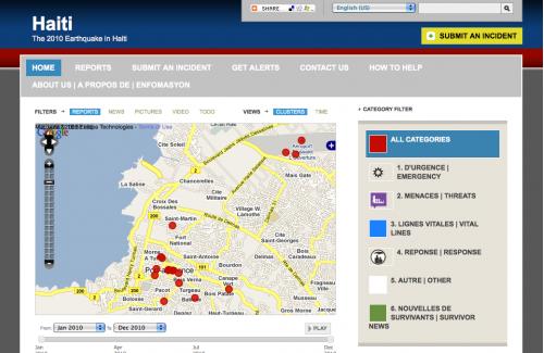 Image courtesy of Ushahidi. http://www.ushahidi.com/wp-content/uploads/2010/01/haiti-ushahidi-500x332.pn