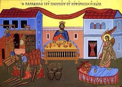 This traditional Orthodox icon of the Parable of the Rich Fool shows workers building new barns on one side while on the other side the rich man dies.