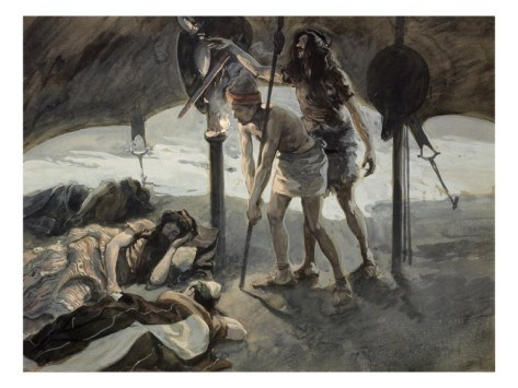 David Takes Saul's Spear and Water Bottle  by James Tissot