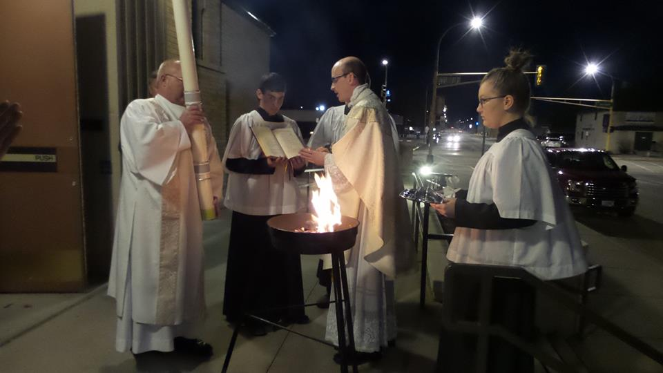 Easter Vigil at St. Patrick's Church in downtown Dickinson